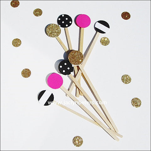 Kate Spade Theme Party Swizzle Sticks - Jaclyn Peters Designs - 1