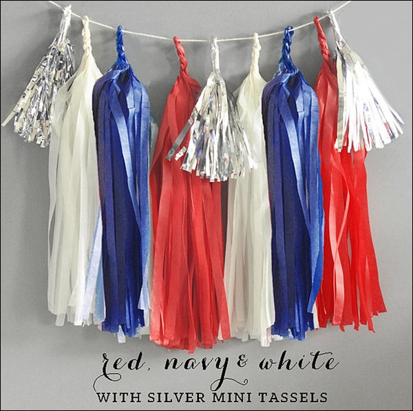 Red White & Blue Party Garland Kit - Jaclyn Peters Designs - 1