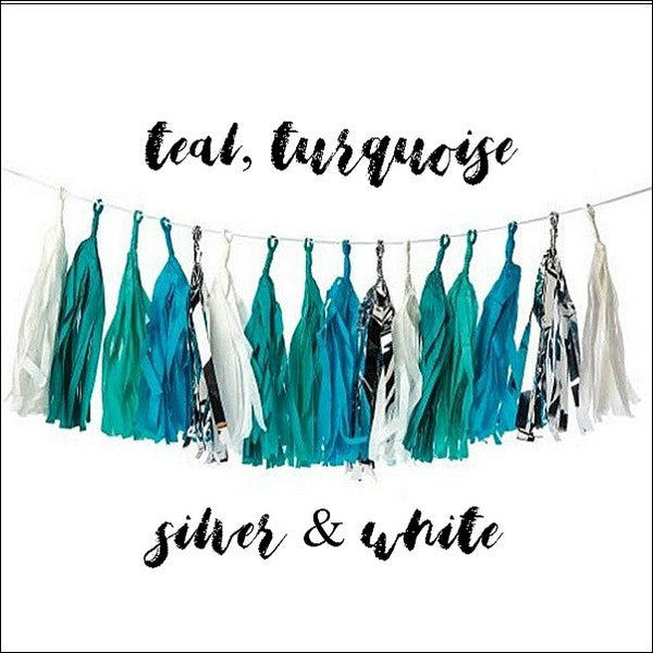 Turquoise, Teal And Silver Foil Tassel Party Garland