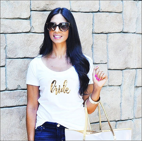 Bride Gold Metallic Foil T-Shirt - Choice Of Colors
