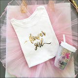 Flower Girl T-Shirt In White And Metallic Gold Foil