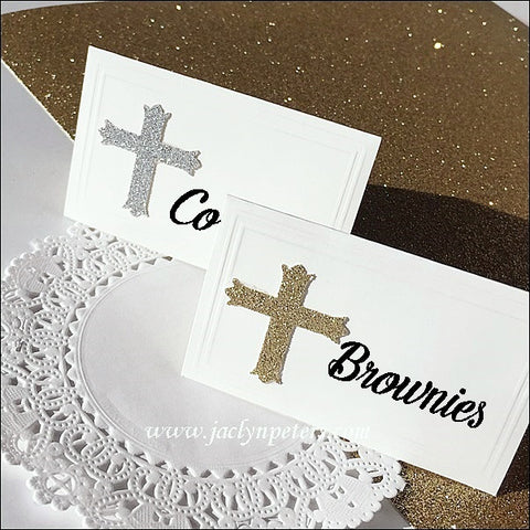 Glitter Cross Baptism Place Cards