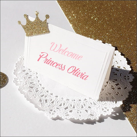 Glitter Princess Crown Party Dessert Table Tents