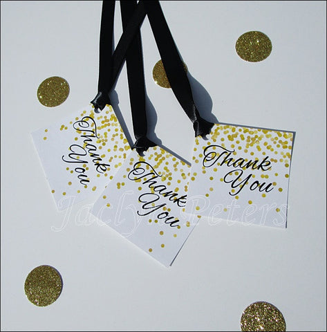Black & Gold Confetti Thank You Tags - Jaclyn Peters Designs - 1