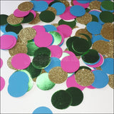 Luau Party Confetti In Tropical Pink, Turquoise, Green And Gold Glitter
