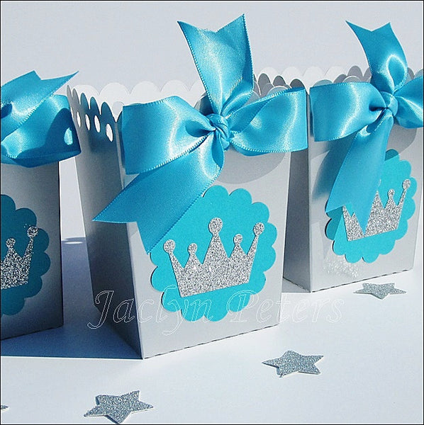 Silver Princess Party Popcorn Favor Boxes - Jaclyn Peters Designs - 1