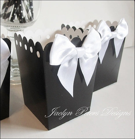 Black And White Popcorn Boxes With Bows - Jaclyn Peters Designs - 1