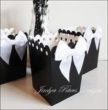 Black And White Popcorn Boxes With Bows - Jaclyn Peters Designs - 3
