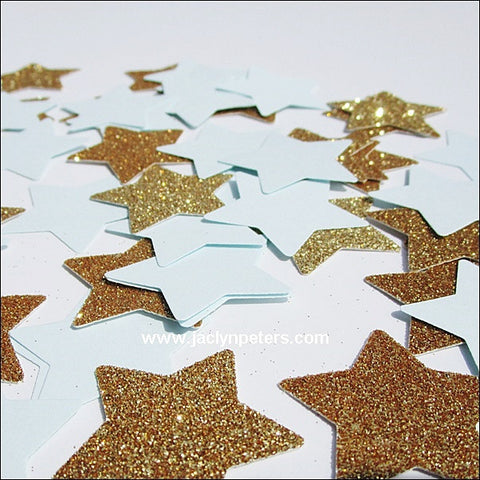 Blue & Gold Large Stars Confetti - Jaclyn Peters Designs - 1