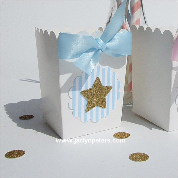 Blue Twinkle Twinkle Little Star Popcorn Boxes - Jaclyn Peters Designs - 1