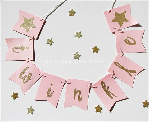Twinkle Twinkle Little Star Gold Glitter Banner - Choice Of Colors