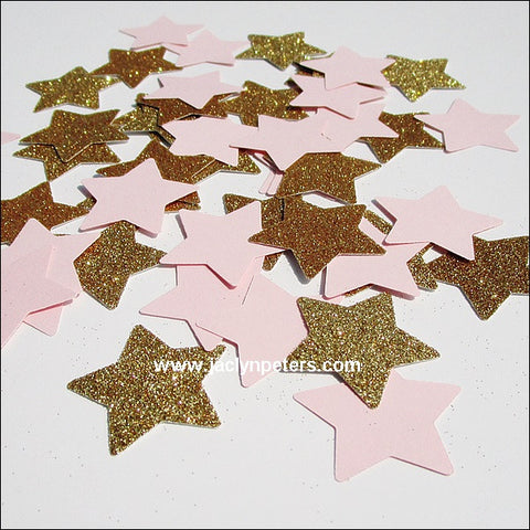Large Pink & Gold Stars Party Confetti - Jaclyn Peters Designs - 1