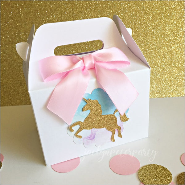 Unicorn Party Mini Gable Favor Boxes With Pink Bow