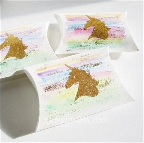 Gold Unicorn Watercolor Rainbow Pillow Favor Boxes - Set Of 8