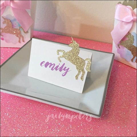 Gold Glitter Unicorn Place Cards Or Dessert Table Tents Set Of 10