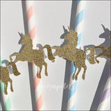 Gold Glitter Unicorn Pastel Party Straws Set Of 12