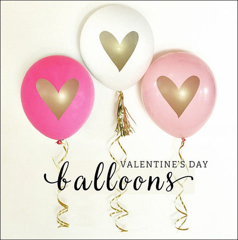 Valentines Day Party Balloons, Pink, White & Hot Pink Set Of 9