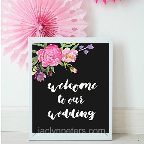 Welcome To Our Wedding Boho Floral Printable Sign - Instant Download