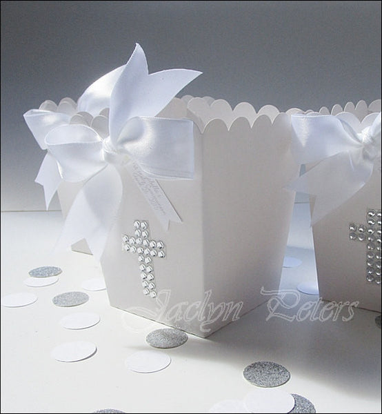 White Rhinestone Cross Popcorn Favor Boxes - Jaclyn Peters Designs - 1
