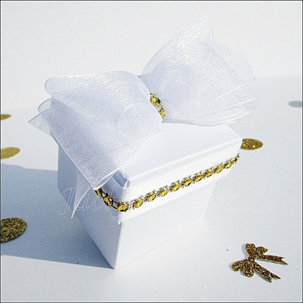 Pearl White & Gold Wedding Favor Boxes - Jaclyn Peters Designs - 1