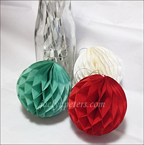 Christmas Mini Honeycomb Balls In Red, Green And White