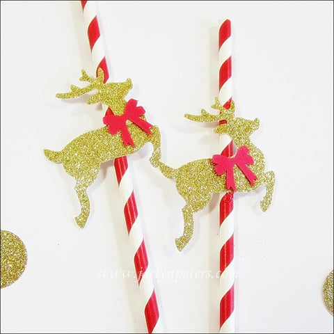 Holiday Reindeer Party Straws