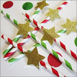 Gold Star Christmas Party Straws - Jaclyn Peters Designs - 1