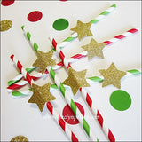 Gold Star Christmas Party Straws - Jaclyn Peters Designs - 2