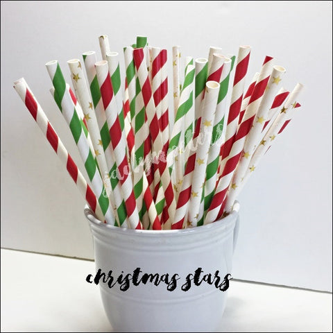 Christmas Gold Foil Stars Decorative Party Straw Mix Set Of 50