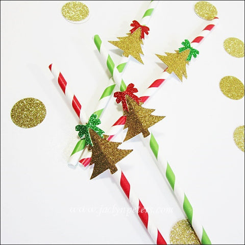 Gold Glitter Christmas Tree Party Straws