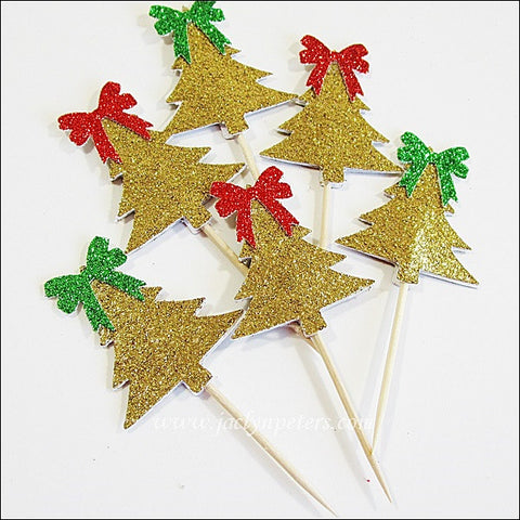 Gold Glitter Christmas Tree Cupcake Toppers