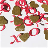 Hugs And Kisses With Gold Glitter Hearts Valentines Party Confetti