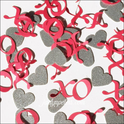Hugs And Kisses With Silver Glitter Hearts Valentines Party Confetti