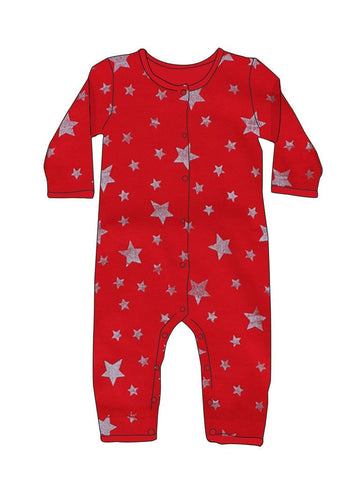 Red with Silver Stars Romper