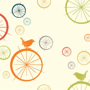 multi-color birds and wheels pattern