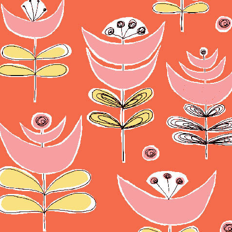 pink and yellow floral pattern