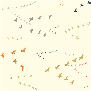 multi-color flying birds pattern