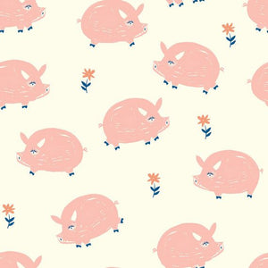 pink pigs and pink flowers pattern