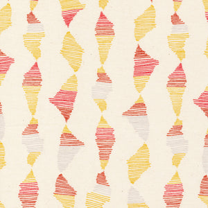 red, grey, & yellow abstract lines pattern