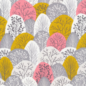 gray, pink, & yellow tree pattern