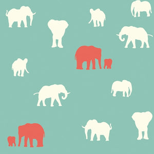 cream and red elephant pattern