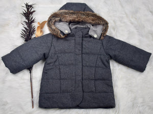 Quilted Snow Jacket - Grey Tweed