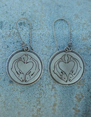 Salmon Love Disk Earrings