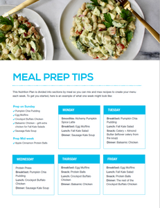 Alchemy 365 Fall Meal Plan #2