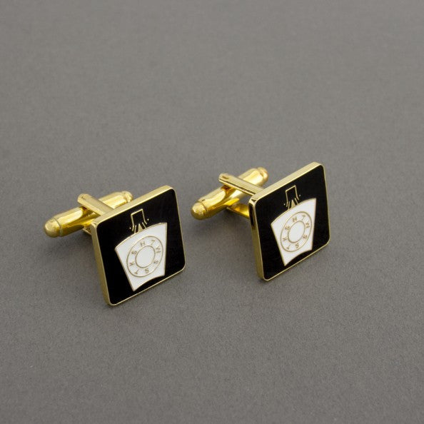 Mark Keystone on Black Square Cufflinks - The Happy Masons' Shop