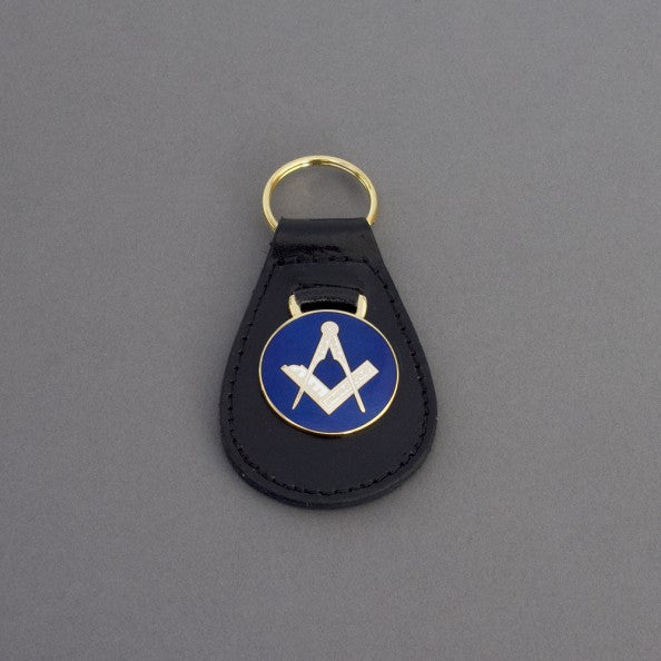 Key Fob Square & Compass Gilt on Blue Gilt - The Happy Masons' Shop