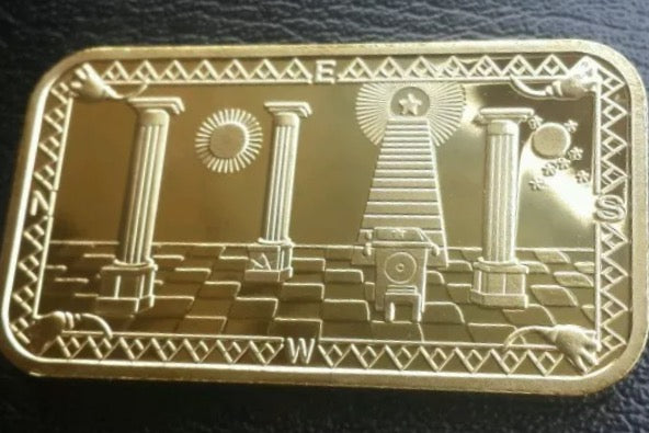 Gold Bar (1 0z .999% pure)  with Masonic Symbols - The Happy Masons' Shop