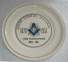 Dupont  Masonic Lodge  No. 29 75th Anniversary Plate. (Vintage) - The Happy Masons' Shop
