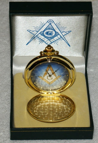 Masonic Pocket Watch- Chrome and Gold. (New) - The Happy Masons' Shop