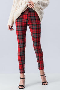 Red Plaid Skinny Pants